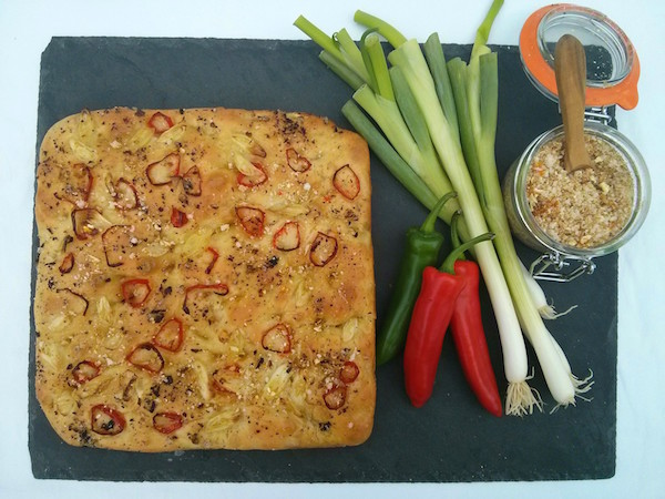 A chilli focaccia with Chilli Citrus sea salt seasoning